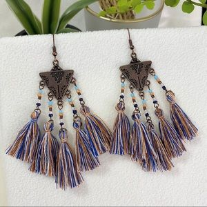 NEW Aztec Fringe Lariat Tassel Drop Earrings Brass